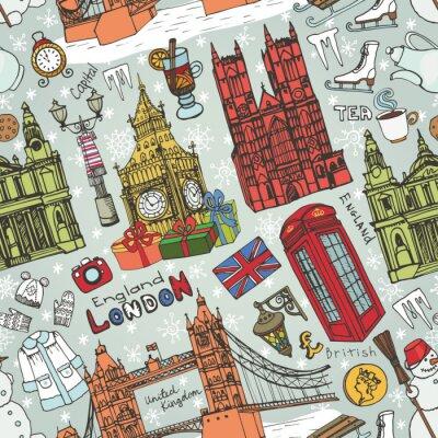 Tapeta Londyn zimowe Zabytki szwu pattern.Colored Doodles