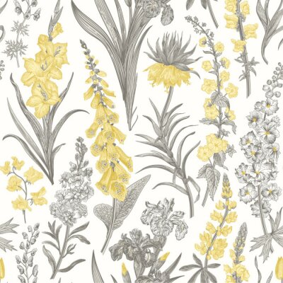 Tapeta Lovely Garden. Vintage seamless pattern. Spring and summer garden flowers. Yellow and gray. Toile de Jouy.
