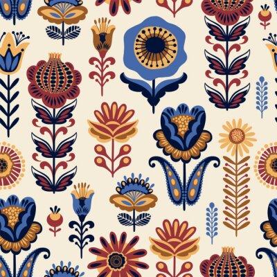 Tapeta Ludowy kwiatowy wzór. Nowoczesny abstrakcyjny wzór