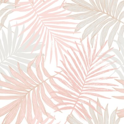 Tapeta Luxurious botanical tropical leaf background in pastel blush pink colors.