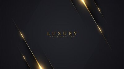 Tapeta Luxury abstract background with golden lines on dark, modern black backdrop concept 3d style. Illustration from vector about modern template deluxe design.