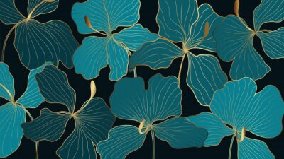 Tapeta Luxury elegant gold orchids floral line arts pattern and black background. Topical flower wallpaper design, Fabric, surface design. Vector illustration.