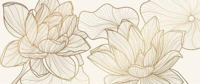 Tapeta Luxury wallpaper design template.  Design for packaging design, social media post, cover, banner, creative post, Gold geometric pattern design vector