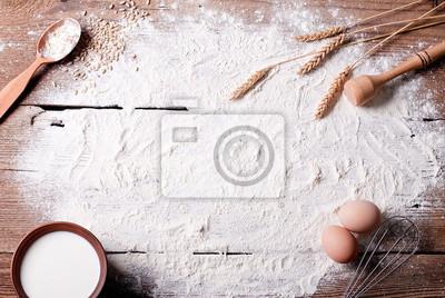 Tapeta Mąka na stole i składników