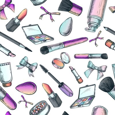 Tapeta Makeup cosmetics and brushes. Vector seamless fashion pattern. Female beauty background. Sketch hand drawn illustration.