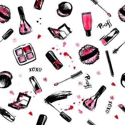 Tapeta Makijaż Rączka ciągnione bezszwowych deseń. Kosmetyki modne kosmetyki z polerowaniem do paznokci, szminek, tusz do rzęs, szczotka, błyszczyk. Różowy i czarny
