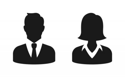 Tapeta Male and female bust silhouette or icon. Man and woman profile avatar. Unknown or anonymous person. Vector illustration.