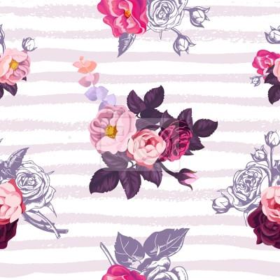 Małe, pół-kolorowe bukiety róż