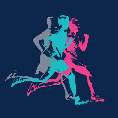 Tapeta Maraton działa, abstrakcyjne kolorowe sylwetki dorosłych biegaczy, plakat wektor