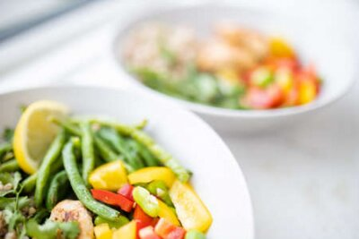 Tapeta Meat and buckwheat dishes with green beans and tomato
