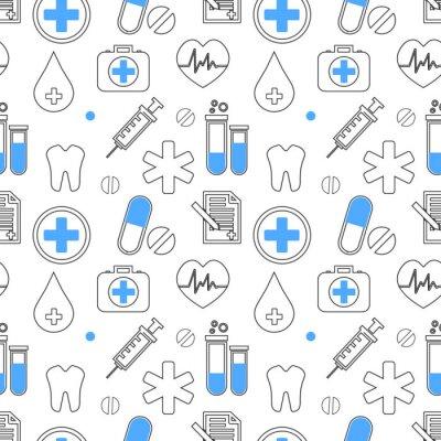 Tapeta Medyczne ikony wektor wzór. Kolekcja znak opieki zdrowotnej. Ilustracja sylwetka sprzęt medyczny. Symbole pogotowia ratunkowego