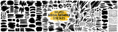 Tapeta Mega bundle of different ink brush strokes:rectangle,square and round freehand drawings.Ink splatters,grungy painted lines,artistic design elements:waves,circles,triangles.Vector paintbrush set.