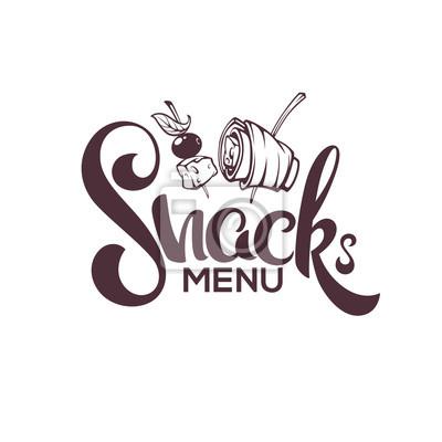Tapeta Menu Snack, Grafika wektorowa wyciągnąć rękę Przekąski i napis składu dla menu restauracji