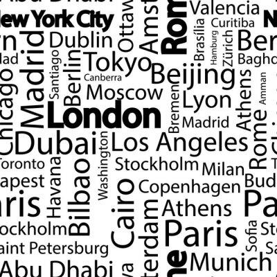 Tapeta Miasta świata bez szwu deseń. Nazwy miast świata. Sztuka bezszwowe tło wzór wektora z nazwy miast. Bezszwowe wzór z nazwami miast.
