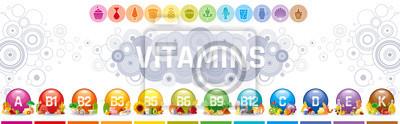 Tapeta Mineralne suplementy witaminowe. Multiwitamina złożony płaski wektorowy ikona set, logo odizolowywał białego tło. Tabela ilustracji medycyna opieki zdrowotnej wykres Dieta bilansu medycznego Infograph