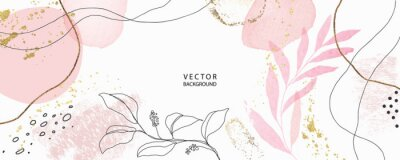 Tapeta minimal background in pink flowers and tropical summer leaf with golden metallic texture gallery wall art vector