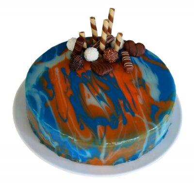 Mirror glazury ciasto z swirls niebieski, czerwony i biały