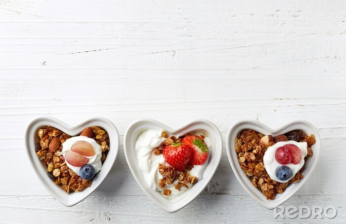 Tapeta Miseczki muesli, jogurt i jagody