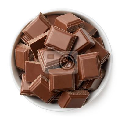 Miska kawałków czekolady mlecznej