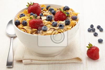 Tapeta Miska zdrowe musli i owoców świeżych