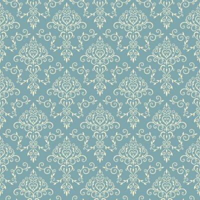 Tapeta Mlecznoniebieski elegancki wzór w stylu vintage.
