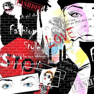 Tapeta Moda dziewczyna w szkicu stylu