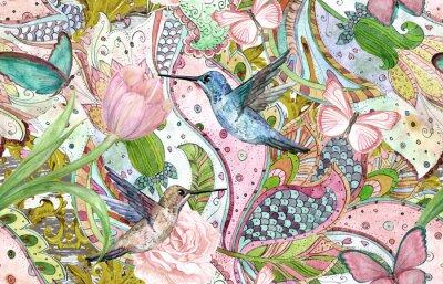 Tapeta moda tekstura z etnicznych kwiatowy ornament i kolibry. Malarstwo akwarelowe