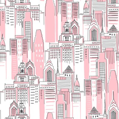 Tapeta Modern New York city scape in pink colour. Girlish Superhero themed seamless pattern. Vector doodle graphics. Perfect for little girl design like t-shirt textile fabric print birtday party wrapping