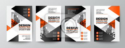 Tapeta modern orange and black design template for poster flyer brochure cover. Graphic design layout with triangle graphic elements and space for photo background