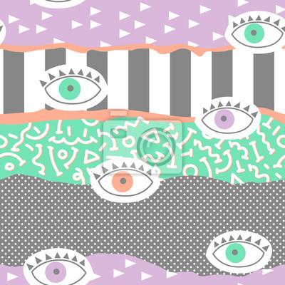 Tapeta Modny abstrakcjonistyczny Memphis Bezszwowy wzór z oczami. Ręcznie rysowane geometryczne moda tło dla tkanin, drukowanie, okładka, plakat. Ilustracji wektorowych