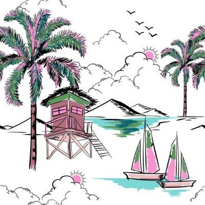 Tapeta Modny hawajczyk w słodki kolor bezszwowe wyspa wektor wzór. Krajobraz z drzew palmowych, plaży i oceanu wektor ręcznie rysowane stylu