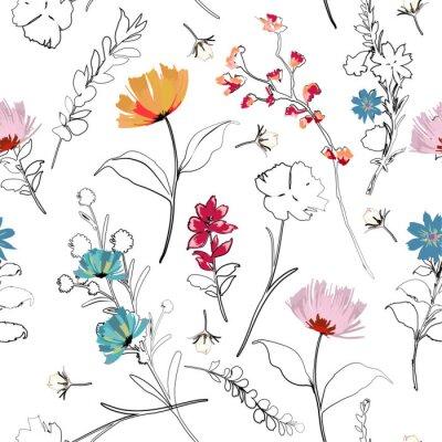 Tapeta Modny jasny lato kwitnący ogród kontur i ręcznie malowanie kwiatów wiele rodzajów kwiatów w bezszwowe wzór ilustracji wektorowych