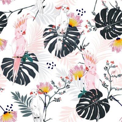 Tapeta Modny letni tropikalny kwiatowy nadruk. Papuga ptak w dżungli i kwiaty w egzotycznym lesie allover design, wektor wzór mody, wallpaoer i wszystkie grafiki