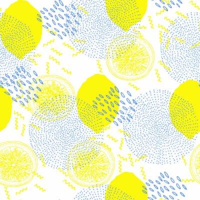 Tapeta modny wzór z cytryn, styl memphis