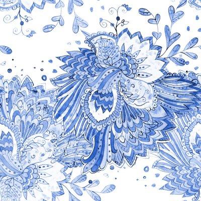 Tapeta Monochromatyczny bezszwowych tekstur z magicznym wzorem. Malarstwo akwarelowe