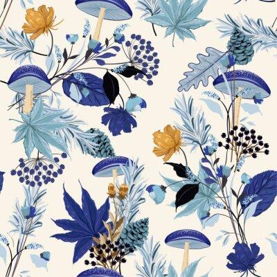 Tapeta Monotyna na niebieski odcień Jesienna noc ogród wzór z ręcznie rysowane liści, grzybów, kwiatów, orzeszków piniowych, dębu w motywach leśnych wektor
