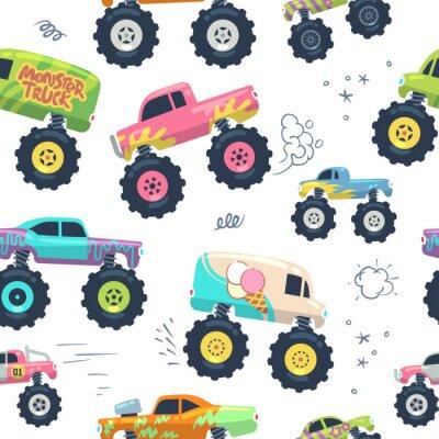 Tapeta Monster cars seamless pattern. Wózki dziecięce z dużym kołem. Niekończące się tło wektor. Wzór i tło bezszwowy, potwora samochód z wielką koło ilustracją
