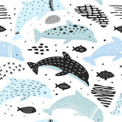 Tapeta Morze podwodne stworzeń tło z abstrakcyjnych elementów do dekoracji. Ilustracji wektorowych