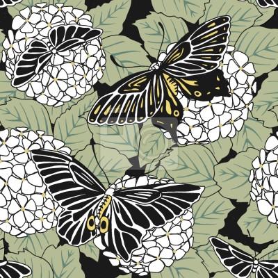 Tapeta Motyle I Hortensia