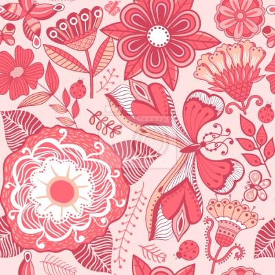 Tapeta Motyli I Kwiatów fantazji