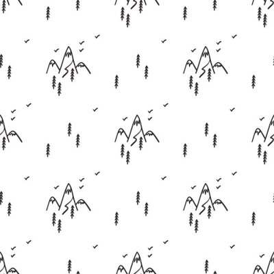 Tapeta Mountains and Forest Vector Seamless Pattern. Hand Drawn Doodle Mountain with Fir Tree and Birds Silhouettes. Landscape Background.