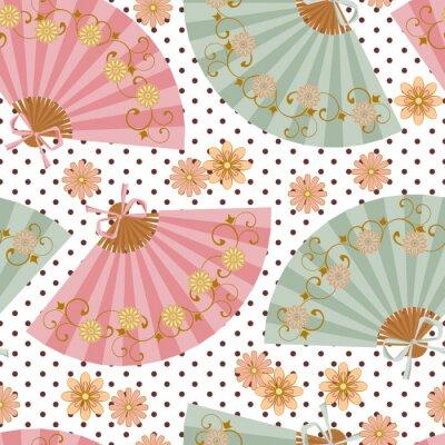 Tapeta Multi-kolorowe wentylator z motywem kwiatowym w stylu orientalnym.