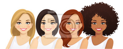 Tapeta Multiethnic women, different female faces isolated vector illustration