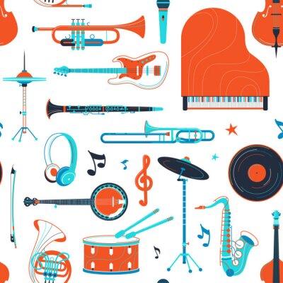 Tapeta Musical instruments, equipment retro vector flat seamless pattern