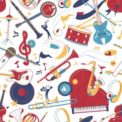 Tapeta Musical instruments flat vector seamless pattern