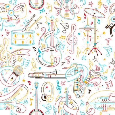 Tapeta Musical instruments hand drawn outline seamless pattern