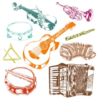 Tapeta Musical instruments icons color set