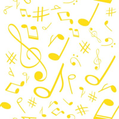 Tapeta Musical symbols in seamless pattern. Musical background for banner, poster, clothing, tie, shirt, dress, web.