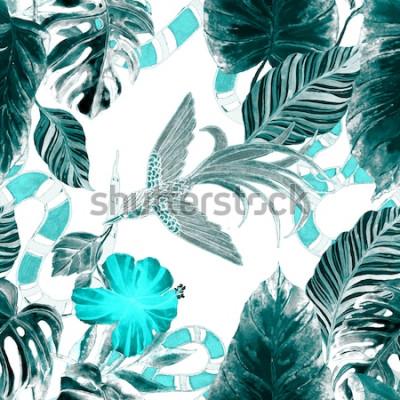 Tapeta Nadruk mody. Akwarela bezszwowe wzór z tropikalnych liści, ptak, wąż. Egzotyczne tło.