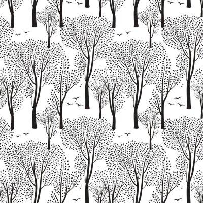 Tapeta Natura wzór. Tło lasu. Drzewa, tapety ptaków